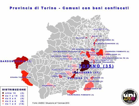 Mappa dei beni confiscati in provincia di Torino - Fonte Alessandro Risi