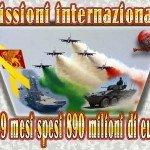 Missioni internazionali: In 9 mesi spesi 890 milioni di euro