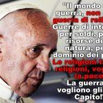 """Papa Francesco: """"Non è guerra di religione"""""""
