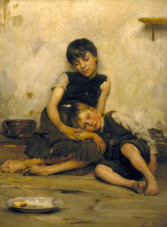 Ritratto sulla povertà di Thomas Benjamin Kennington (1885)