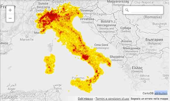 """Dove sono le slot machine in Italia: tutti gli oltre 113mila esercizi con """"macchinette"""" sul suolo italiano. In testa le grandi città e le zone turistiche sulle coste. Fonte Wired Italia"""