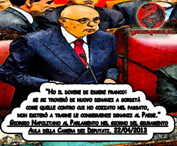 Messaggio del Presidente della Repubblica Giorgio Napolitano al Parlamento nel giorno del giuramento