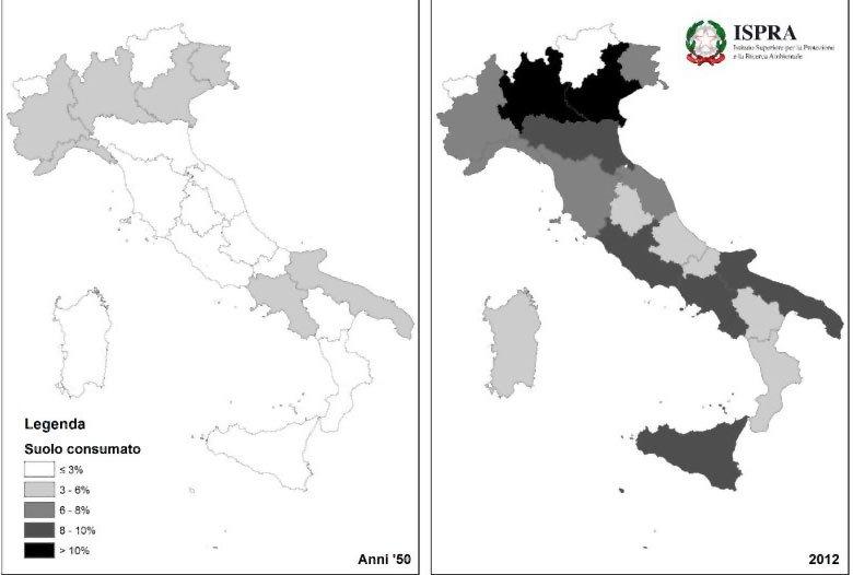 Stima del suolo consumato a livello regionale negli anni '50 e nel 2012.